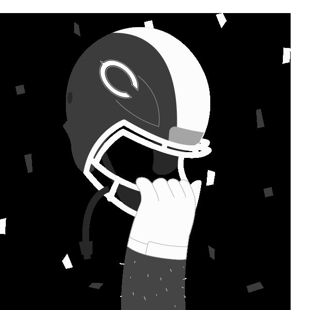 Icône main tenant un casque de football