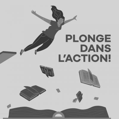 Illustration femme plongeant dans des livres